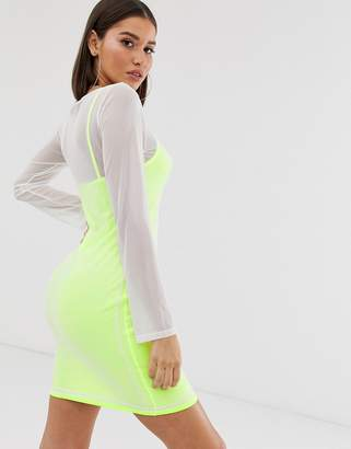 Missguided slip dress with mesh overlay in neon yellow