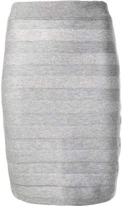 Balmain striped knitted pencil skirt