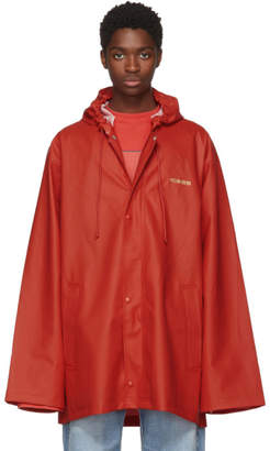 Red Short Logo Rain Coat