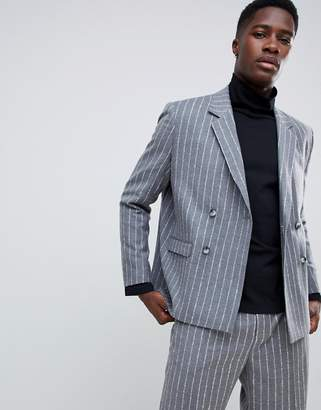 Asos boxy double breasted blazer in 100% wool textured stripe