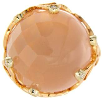 Chimento 18K Rose Gold Pink Quartz & Diamonds Boule Ring Size 6.5