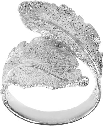 Italian Silver Diamond-Cut Double Leaf Design Ring