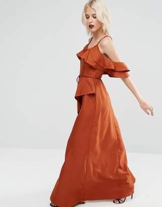 ASOS Cold Shoulder Ruffle Cami Maxi Dress $83 thestylecure.com