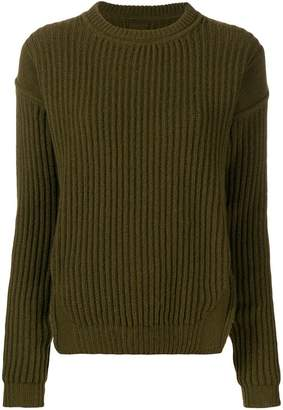 Rick Owens crew neck rib knit sweater