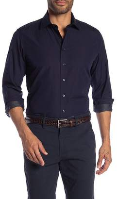 Toscano Micro Print Long Sleeve Regular Fit Sport Shirt