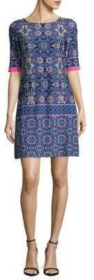 Eliza J Printed Elbow-Sleeve Shift Dress