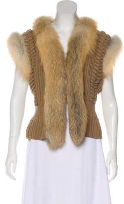 Rena Lange Fur-Trimmed Rib Knit Vest w/ Tags