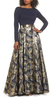 Mac Duggal Metallic Waist Print Skirt Gown