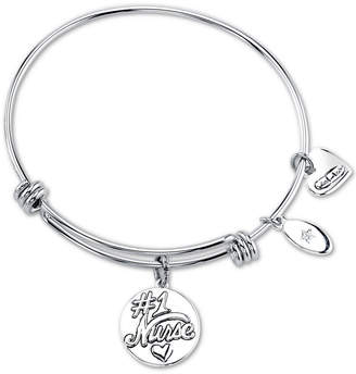 """Unwritten Nurses have the Most Patients"""" Heart Charm Adjustable Bangle Bracelet in Stainless Steel"""