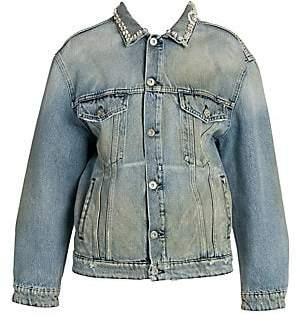 Miu Miu Women's Oversized Crystal Denim Jacket