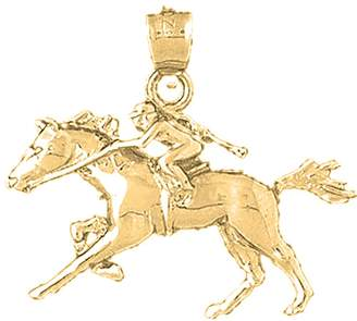 Jockey NecklaceObsession Gold-plated 925 Silver 24mm And Horse Pendant Necklace