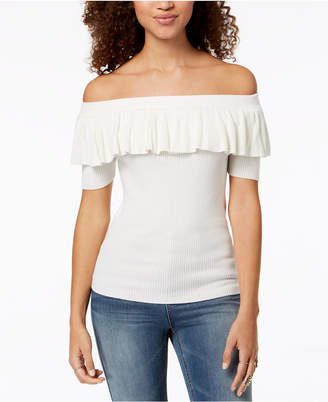 Hooked Up By Iot Juniors' Off-The-Shoulder Flounce Sweater