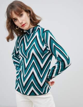 Vero Moda Chevron Stripe High Neck Sweater