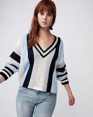 Express Mix Stitch Striped V-Neck Sweater