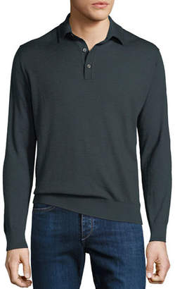 Stefano Ricci Men's Cashmere/Silk Long-Sleeve Polo Shirt