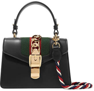 Gucci Sylvie Mini Chain-trimmed Leather And Canvas Shoulder Bag - Black