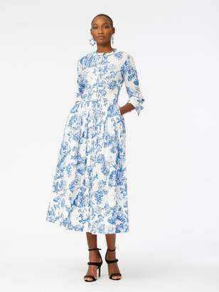 Oscar de la Renta Floral Toile Cotton-Poplin Shirtdress