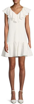 Rebecca Taylor Sleeveless A-Line Ruffle Mini Dress