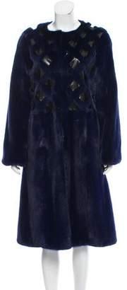 Oscar de la Renta Snakeskin-Trimmed Mink Coat w/ Tags