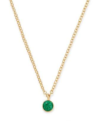 "Chicco Zoë 14K Yellow Gold Emerald Drop Choker Adjustable Necklace, 14""-16"""
