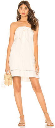 1 STATE Strapless Tie Front Button Down Dress