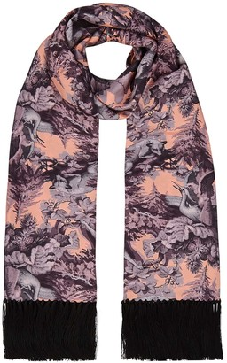 Klements Delores Hand Tasselled Silk Twill Scarf In Biaowieza Forest Print Iced Lilac