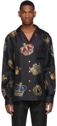 Dolce & Gabbana Black Silk Crown Pyjama Shirt