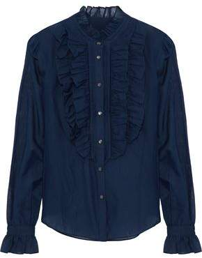 Temperley London Strawberry Ruffled Cotton And Silk-Blend Voile Shirt