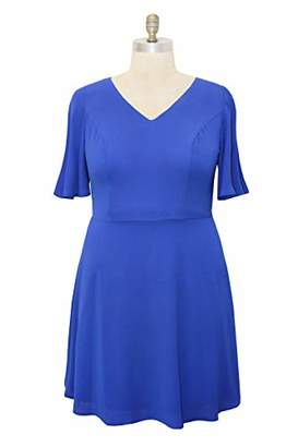 82e7fa7c81ac London Times Women's Plus Size Flutter Sleeve V Neck FIT and Flare Dress