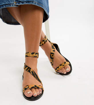 New Look Wide Fit Leather Leopard Stud Stap Flat Sandal