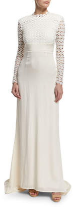 Self-Portrait Self Portrait Eva Long-Sleeve Open-Back Combo Gown, Off White