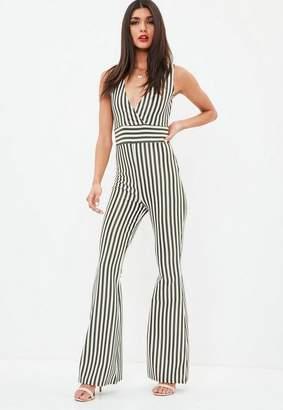 Missguided Khaki Sleeveless Stripe Kick Flare Romper