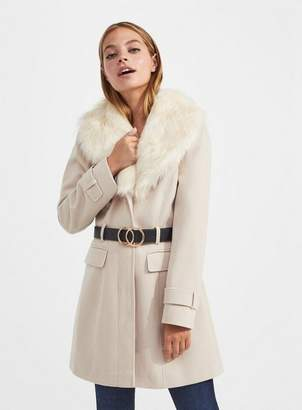 Miss Selfridge Petite cream fur trim fit and flare coat