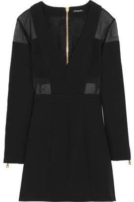 Balmain Chiffon-Paneled Jersey Mini Dress