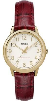 Timex Women's Easy Reader Signature Burgundy/Cream Watch, Leather Strap