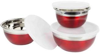 Home Basics 3-Piece Red Bowl Set with Lids