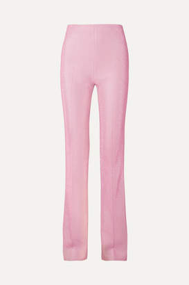 Miu Miu Metallic Lurex Flared Pants - Blush