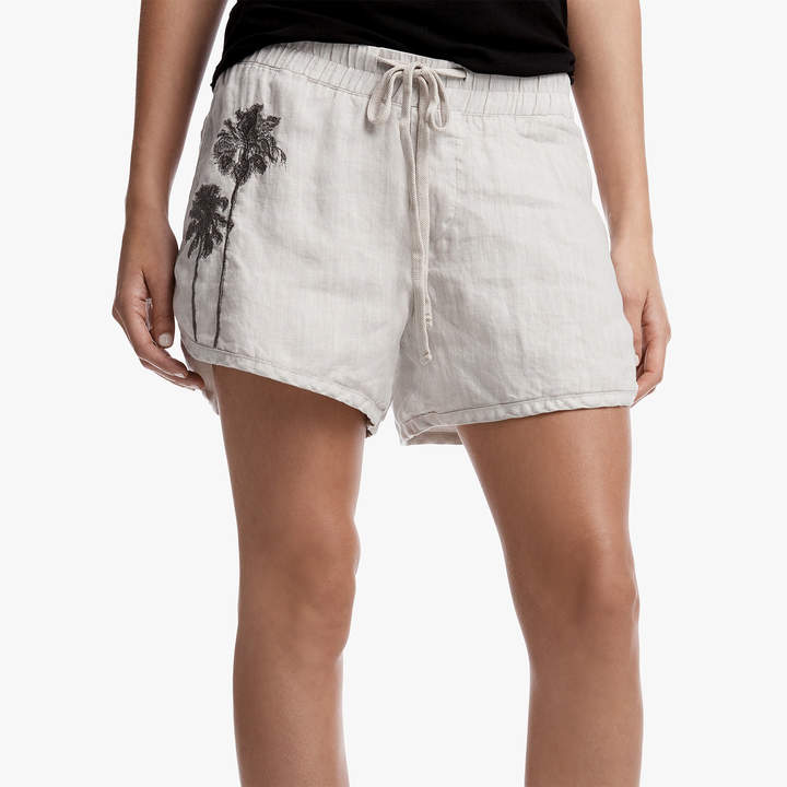 Embroidered Linen Dolphin Short