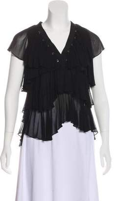 Givenchy Ruffle-Trimmed Embellished Blouse