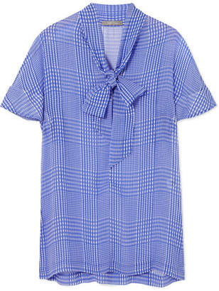 Lela Rose Pussy-bow Checked Silk-chiffon Top - Blue