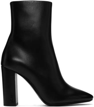 Saint Laurent Black Loulou Heeled Boots