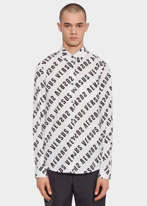 Versace Diagonal Versus Logo Print Cotton Shirt