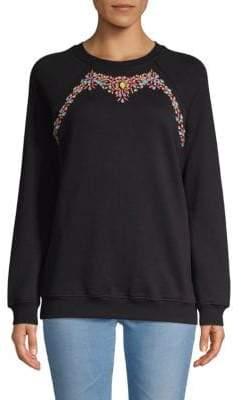 Embellished Raglan Cotton Sweatshirt