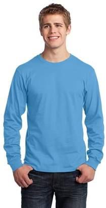 Port & Company Long Sleeve 5.4-oz. 100% Cotton T-Shirt. Aquatic Blue. L.