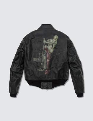 Y's Vintage Printed Leather Jacket / Black