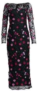 Lela Rose Resort Lace Floral Midi Dress
