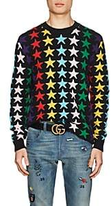 Gucci Men's Star-Knit Wool Sweater - Black