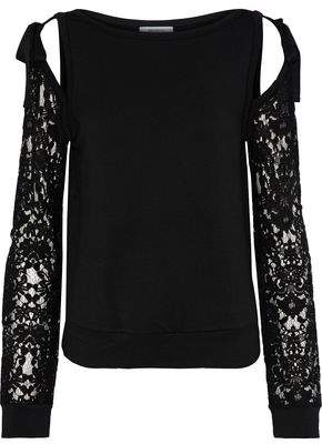 Bailey 44 Sentimental Cold-Shoulder Lace-Paneled Stretch-Modal Fleece Sweatshirt