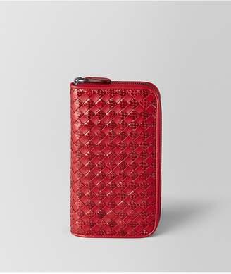 Bottega Veneta China Red Intrecciato Checker/Ayers Zip Around Wallet