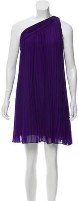 Halston Pleated One-Shoulder Dress